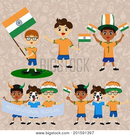 Set of boys with national flags of India Blanks for the day of the flag independence nation day and other public holidays. The guys in sports form with the attributes of the football team
