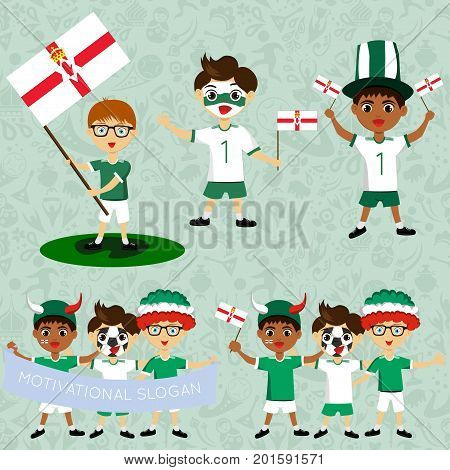Set of boys with national flags of Northern Ireland. Blanks for the day of the flag independence nation day and other public holidays.The guys in sports form with the attributes of the football team