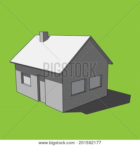 three dimensional illustration - grayscale simple isolated house with windows door and chimney in front of a green background