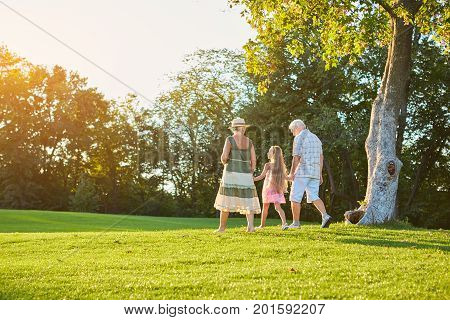 Grandparents and grandchild walking outdoors. People, sunny summer day.