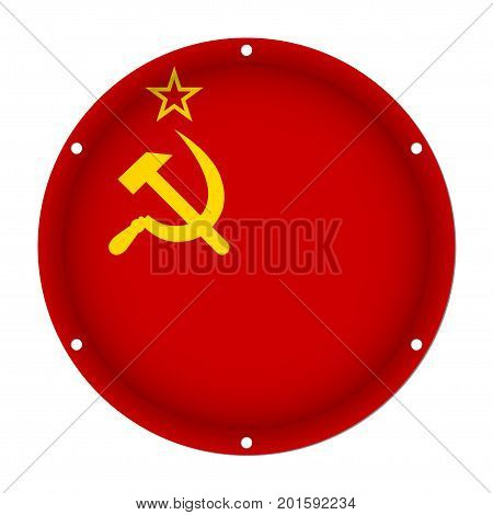round metallic flag of Soviet Union with six screw holes in front of a white background