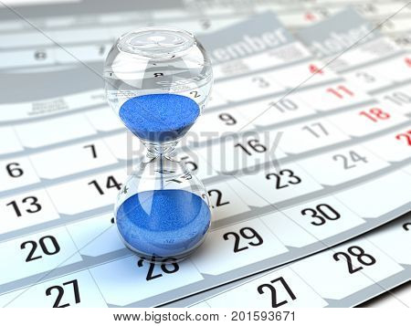 Concept of Time, calendar, organizing - 3d rendering of Hourgalss on calendar