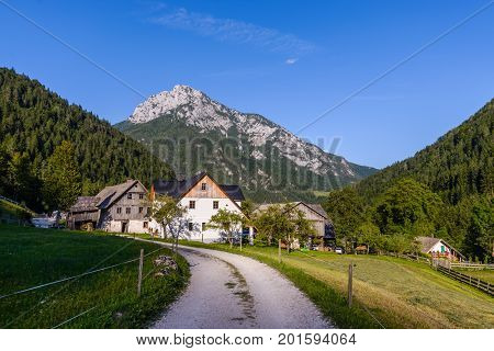 Robanov kot, Slovenia is a protected traditional Alpine village in Idyllic Landscape and preserved as monument