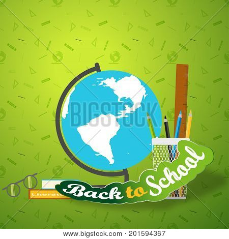 Vector illustration of poster Back to school with globe books glasses and curved text cut from paper with shadow on the gradient green background with pattern.