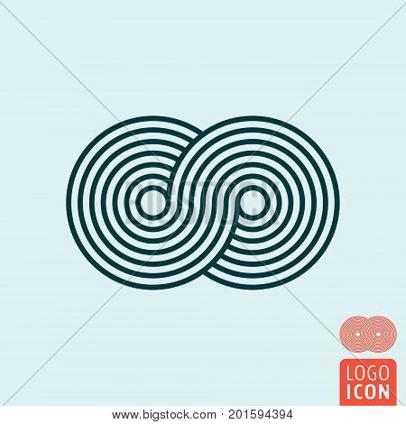 Rotating round symbol. Circle rotate icon. Vector illustration