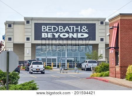 PLATTSBURGH USA - AUGUST 23 2017 : Bed Bath Beyond and logo. Bed Bath Beyond Inc. is an American-owned chain of domestic merchandise retail stores