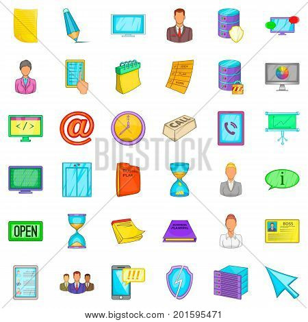 Ministry icons set. Cartoon style of 36 ministry vector icons for web isolated on white background