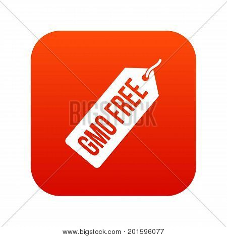 GMO free price tag icon digital red for any design isolated on white vector illustration