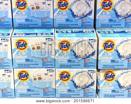 MONTREAL CANADA - AUGUST 25 2017 : Tide loundry products in Costco. Tide Alo Vizir or Ace in some countries is a laundry detergent manufactured by Procter Gamble