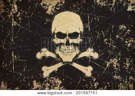 Pirates Skull And Bones Aged Flat Flag