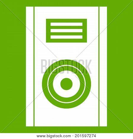 Music speaker icon white isolated on green background. Vector illustration
