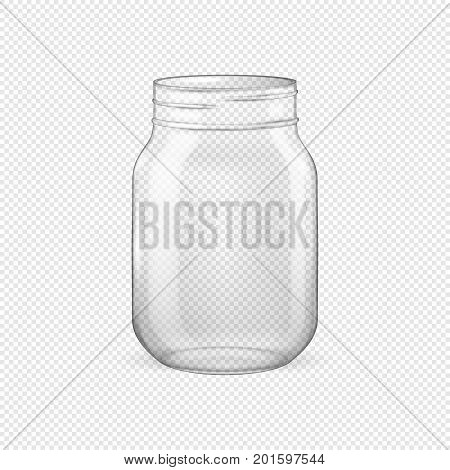 Vector realistic empty glass jar for canning and preserving without lid closeup isolated on transparent background. Design template for advertise, branding, mockup. EPS10 illustration.