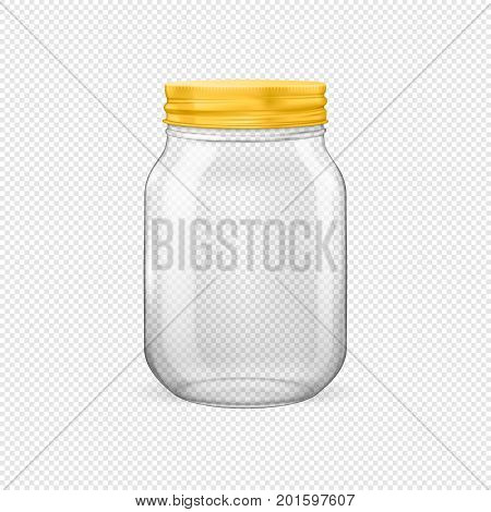 Vector realistic empty glass jar for canning and preserving with golden lid closeup isolated on transparent background. Design template for advertise, branding, mockup. EPS10 illustration.