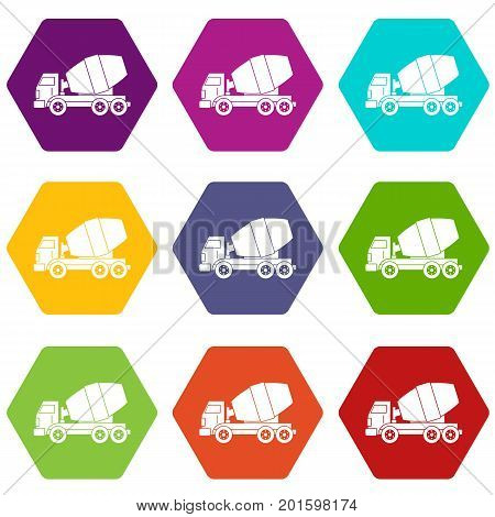Truck concrete mixer icon set many color hexahedron isolated on white vector illustration