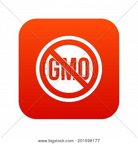 Stop GMO icon digital red for any design isolated on white vector illustration