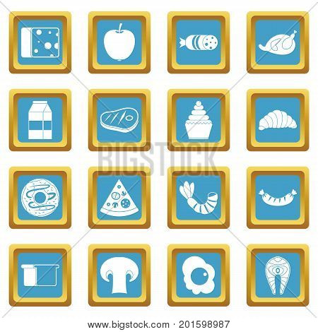 Food icons set in azur color isolated vector illustration for web and any design