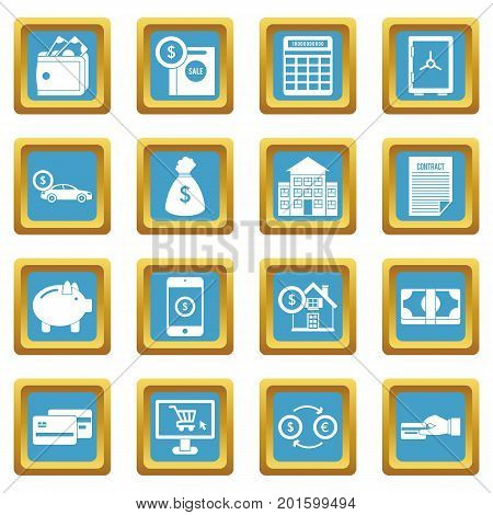 Credit icons set in azur color isolated vector illustration for web and any design