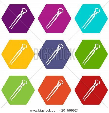 Vintage blacksmith pincers icon set many color hexahedron isolated on white vector illustration