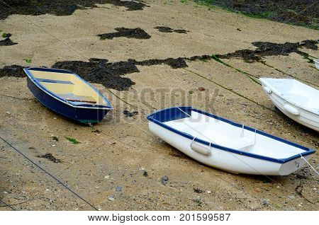Boats  In A Little Harbor During An Outflow, Low Water Level