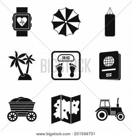 Carefree life icons set. Simple set of 9 carefree life vector icons for web isolated on white background