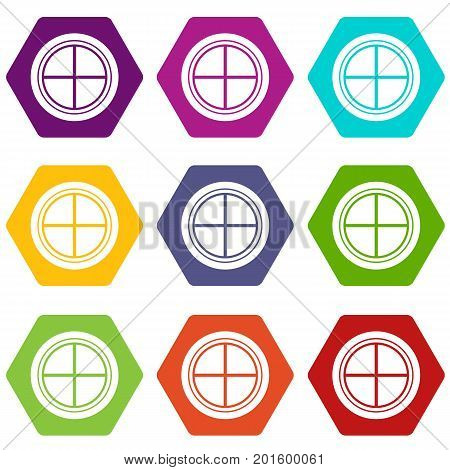 White round window icon set many color hexahedron isolated on white vector illustration