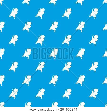 Holland map pattern repeat seamless in blue color for any design. Vector geometric illustration