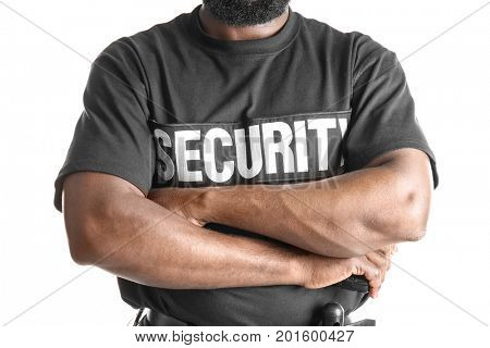 Male security guard on white background, closeup