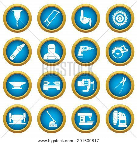 Metal working icons blue circle set isolated on white for digital marketing