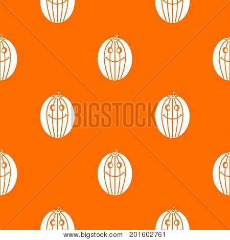 Ripe smiling melon pattern repeat seamless in orange color for any design. Vector geometric illustration