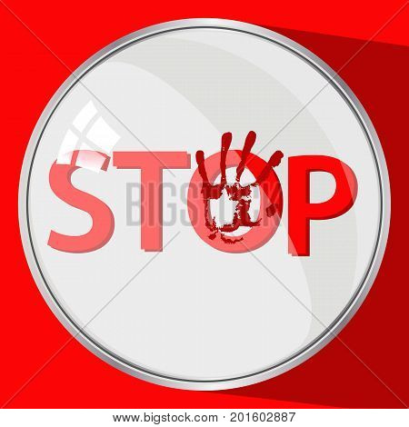Stop violence concept. round button. red trace by hand. illustration for your design.