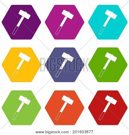 Sledgehammer icon set many color hexahedron isolated on white vector illustration