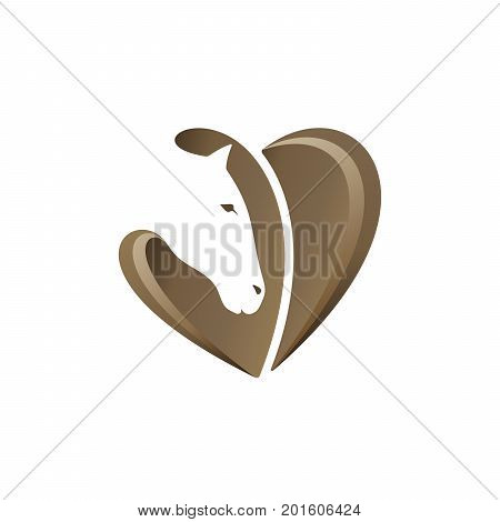 Horse love template with negative space. Horse head with heart shape on white background. Vector illustration.