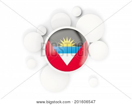 Round Flag Of Antigua And Barbuda With Circles Pattern