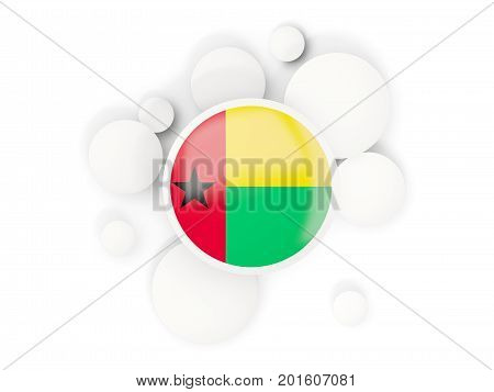 Round Flag Of Guinea Bissau With Circles Pattern