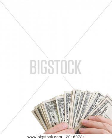 hands holding a fan of money