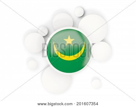 Round Flag Of Mauritania With Circles Pattern
