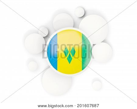Round Flag Of Saint Vincent And The Grenadines With Circles Pattern