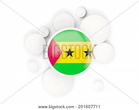 Round Flag Of Sao Tome And Principe With Circles Pattern
