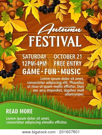 Autumn festival invitation poster or web banner template for music party or seasonal park picnic. Vector design of maple leaf, oak acorn or rowan berry on autumn green grass and wood background