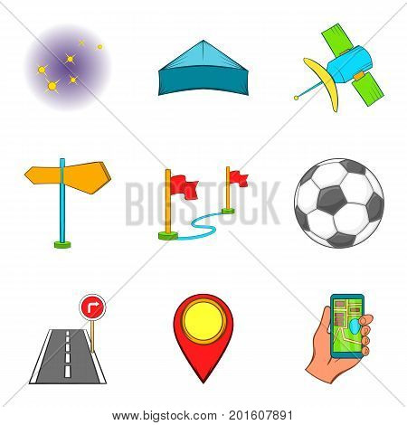 Activity icons set. Cartoon set of 9 activity vector icons for web isolated on white background