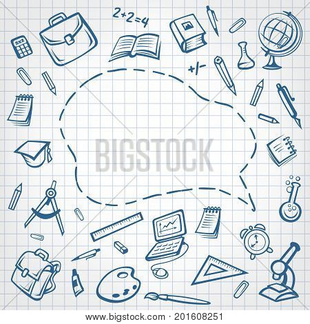 Back to School poster of speech bubble space and school stationery pattern on ink pen sketch checkered copybook page background. Vector rucksack or backpack, school book, pencil and globe or ruler