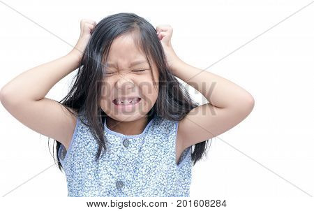 Girl Itchy His Hair On Isolated White