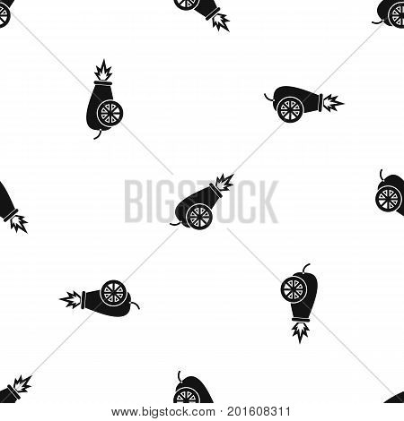 Circus cannon pattern repeat seamless in black color for any design. Vector geometric illustration