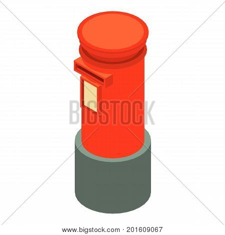 Red mailbox icon. Isometric illustration of red mailbox vector icon for web
