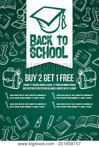 Back to School sale poster or web banner template for seasonal special discount offer on school supplies stationery. Vector math book, school computer or pencil and ruler pattern on green chalkboard