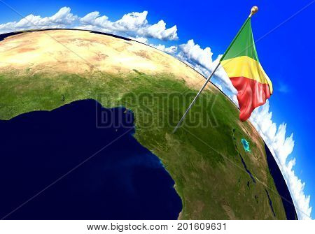 Congo Republic national flag marking the country location on world map. 3D rendering, parts of this image furnished by NASA