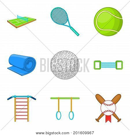 Stretch icons set. Cartoon set of 9 stretch vector icons for web isolated on white background