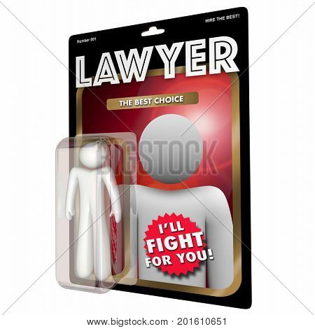Lawyer Attorney Choose Best Legal Help Action Figure 3d Illustration