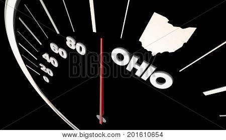 Ohio OH State Speedometer Destination Best Location 3d Illustration