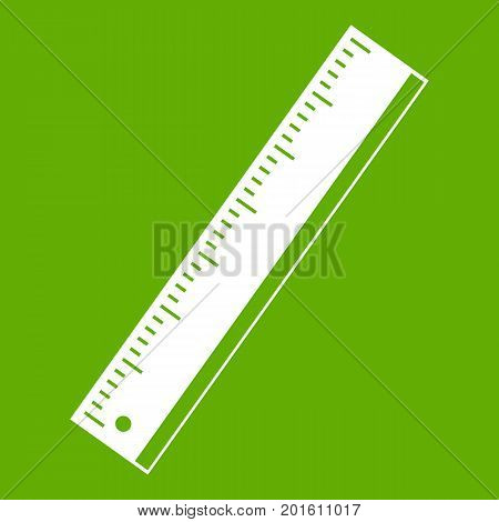 Yardstick icon white isolated on green background. Vector illustration